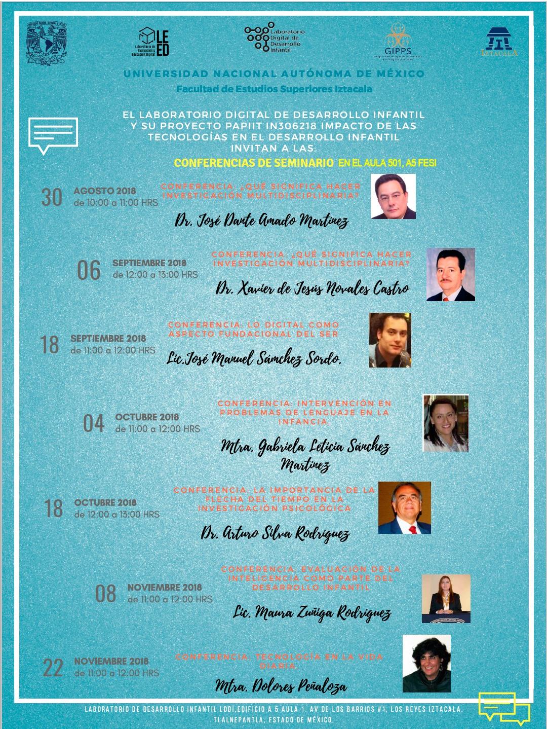 Conferencias del seminario del proyecto PAPIIT IN306218  2018-2019